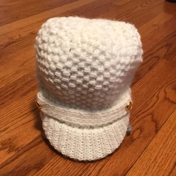0a331da554a23 MK Cable Knit Cream Winter Hat with Brim